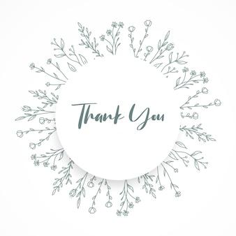 Cartão de agradecimento com ornamento floral circle