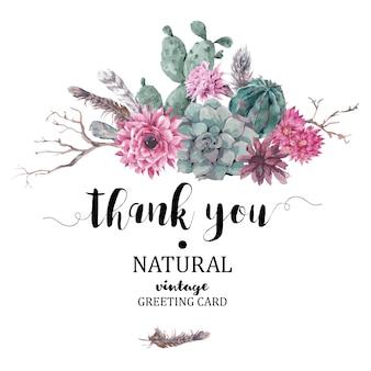 Cartão de agradecimento com ramos e suculentas