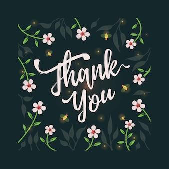 Cartão de agradecimento com tema de flor