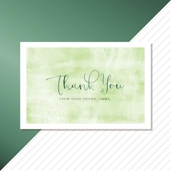 Cartão de agradecimento com tema verde