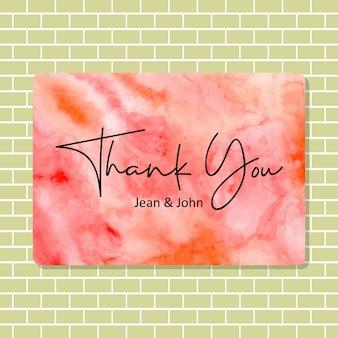 Cartão de agradecimento com textura aquarela abstrata