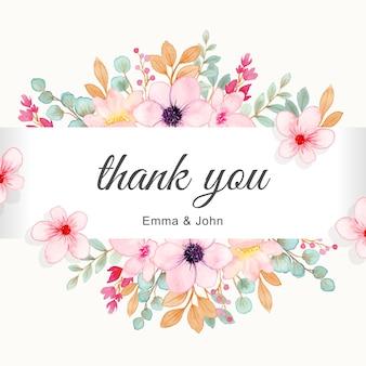 Cartão de agradecimento com uma linda borda de flor rosa