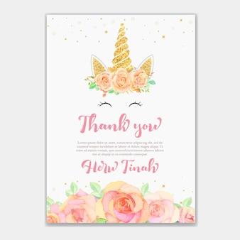 Cartão de agradecimento com unicórnio e floral rosa