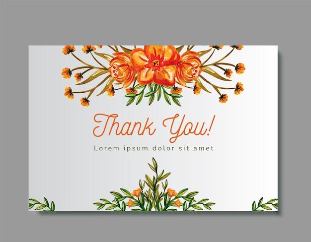Cartão de agradecimento do casamento floral aquarela cor laranja