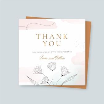 Cartão de agradecimento do flyer quadrado em aquarela