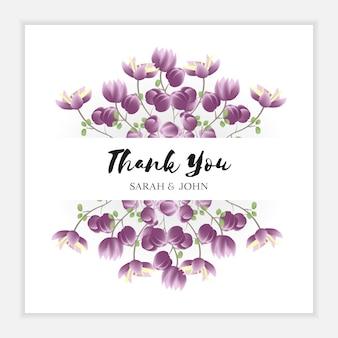 Cartão de agradecimento floral com moldura de flor roxa