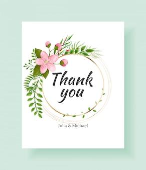 Cartão de agradecimento floral para artigos de papelaria de casamento