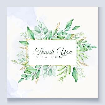 Cartão de agradecimento floral verde colorido do casamento