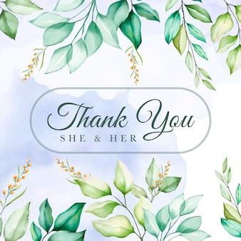 Cartão de agradecimento floral verde colorido