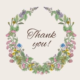Cartão de agradecimento. inscrição dentro da grinalda de ervas e flores de mão desenhada