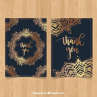 Cartão de agradecimento mandala dourado