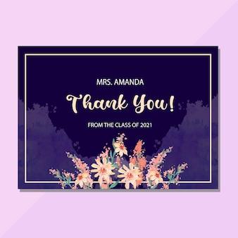 Cartão de agradecimento para o grande professor com flores em aquarela em fundo azul marinho