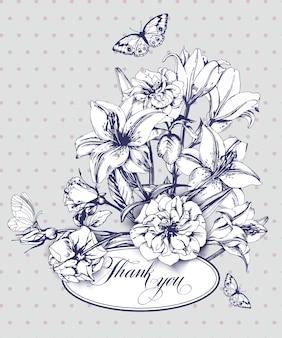 Cartão de agradecimento vintage com lírios florescendo e borboletas.