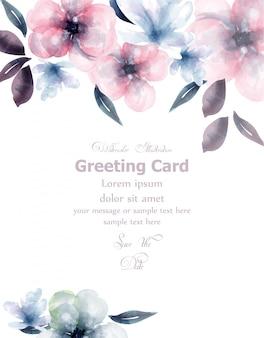Cartão de aguarela de flores de primavera