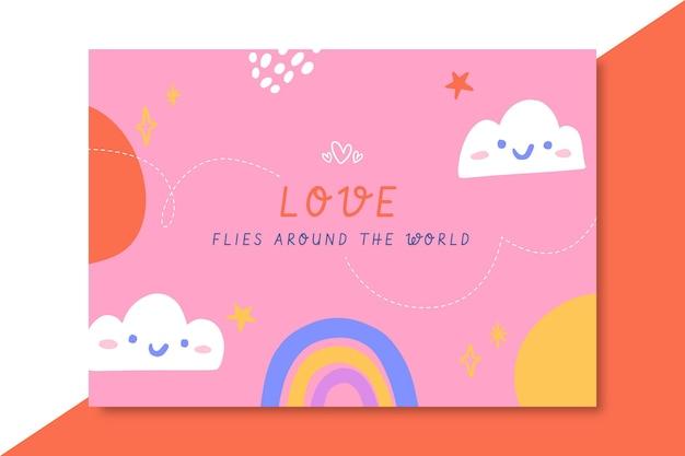 Cartão de amor colorido desenhado à mão