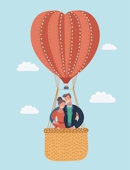 Cartão de amor com casal a voar em balão de ar quente.