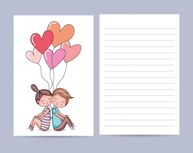 Cartão de amor com casal fofo