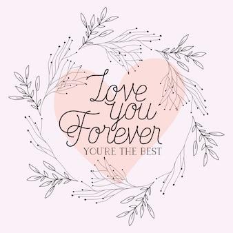 Cartão de amor com ervas desenhada frame