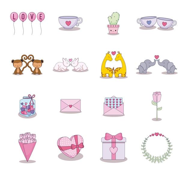 Cartão de amor conjunto de ícones