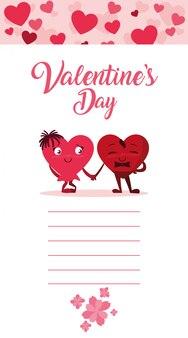 Cartão de amor de casal de corações fofos