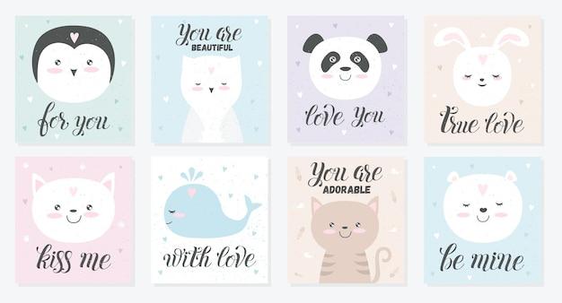Cartão de amor de vetor de animal fofo pôster com objetos adoráveis em cores pastel de fundo de tributação