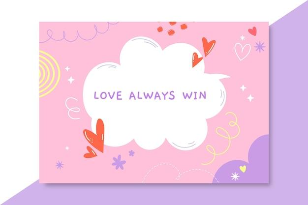Cartão de amor infantil desenhado à mão