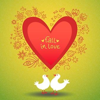 Cartão de amor romântico de dia dos namorados com duas pombas em torno da ilustração de um coração vermelho