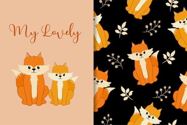 Cartão de animais fofo mão desenhada padrão conjunto