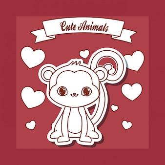 Cartão de animais fofos