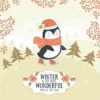 Cartão de animais inverno bonito