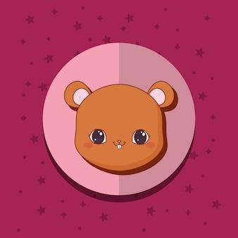 Cartão de animais kawaii