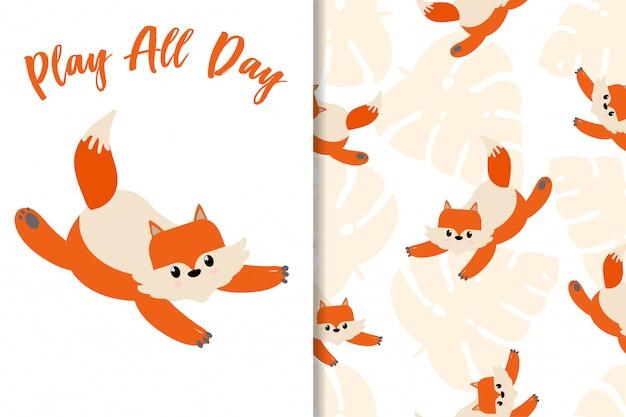 Cartão de animais raposa mão desenhada padrão definido