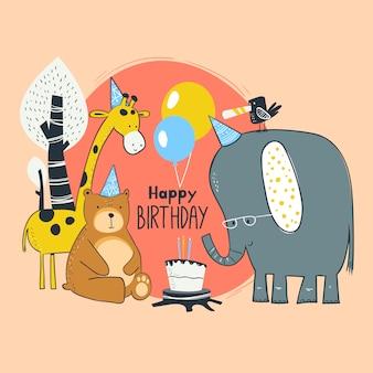 Cartão de aniversário animal