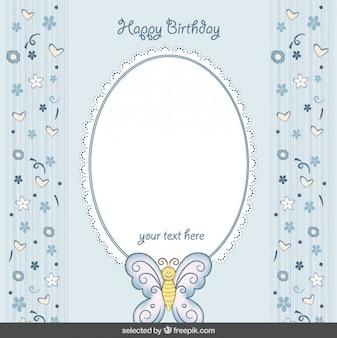 Cartão de aniversário azul bonito com borboleta