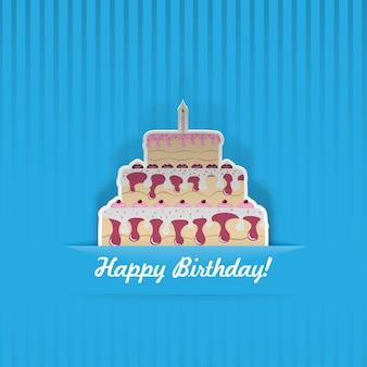 Cartão de aniversário azul com bolo, cortado de papel
