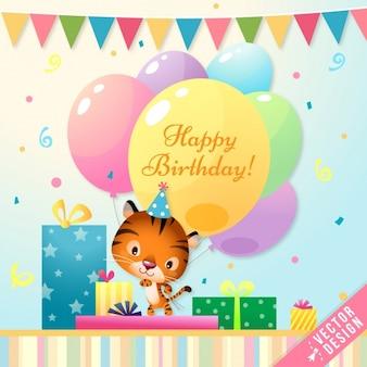 Cartão de aniversário bonito com um tigre