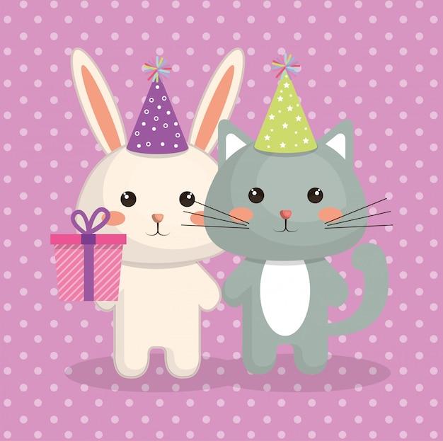 Cartão de aniversário bonito do caráter do kawaii do gato e do coelho