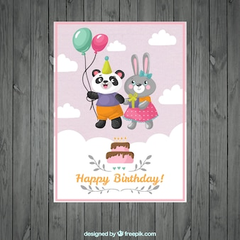 Cartão de aniversário casal de animais de nice