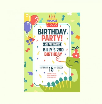 Cartão de aniversário colorido bonito verde dino tema convite