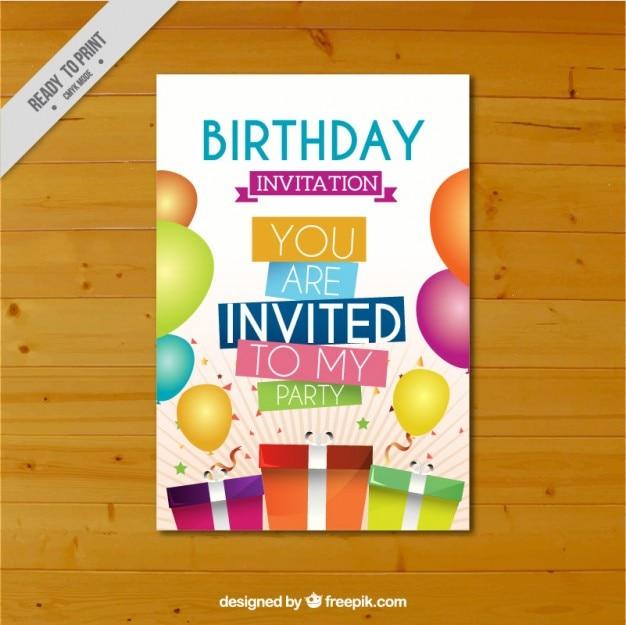 Cartão de aniversário colorido com presentes