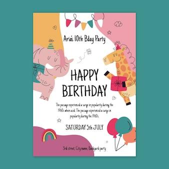 Cartão de aniversário com animais de festa