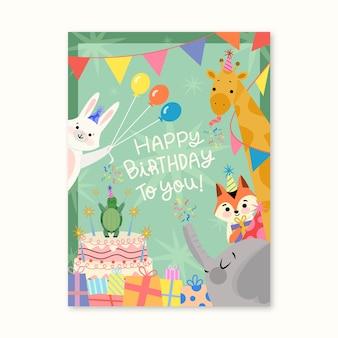 Cartão de aniversário com animais fofos