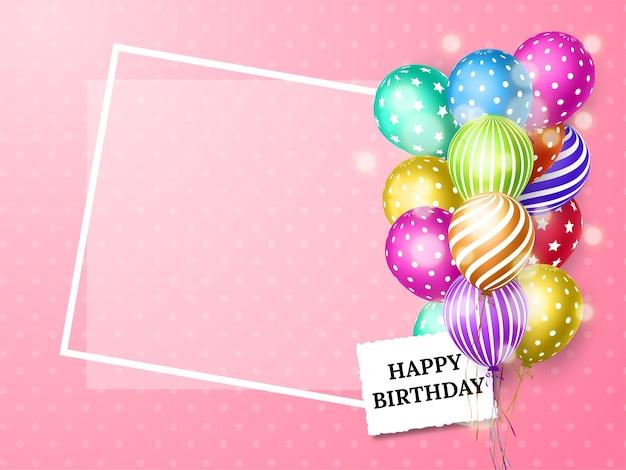Cartão de aniversário com balões coloridos