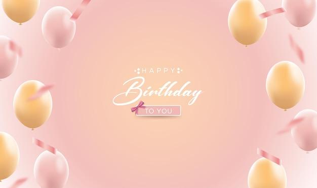 Cartão de aniversário com balões realistas