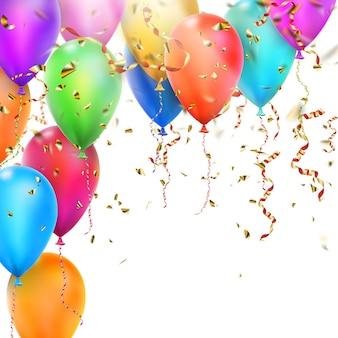 Cartão de aniversário com balões.