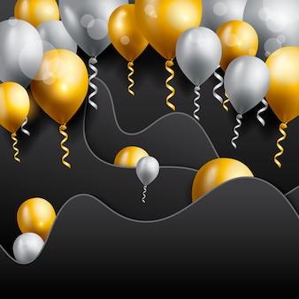 Cartão de aniversário com balões