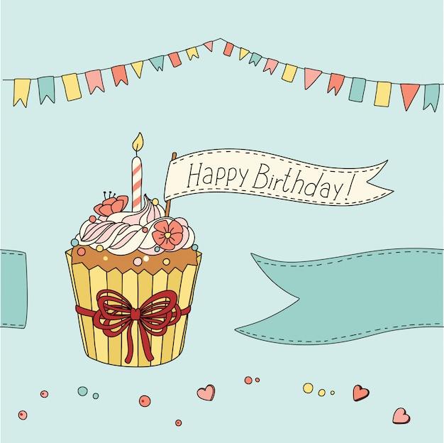 Cartão de aniversário com bolinho doce e lugar para o seu texto
