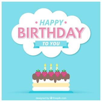 Cartão de aniversário com bolo de morango
