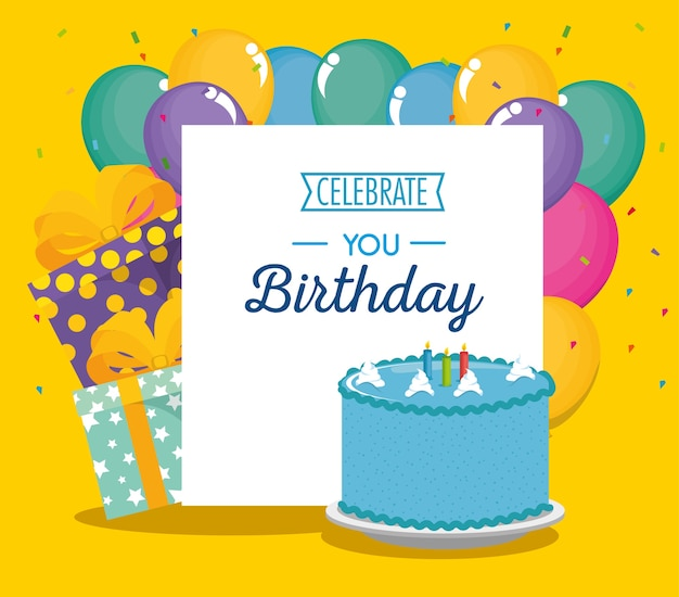 Cartão de aniversário com bolo doce e balões de ar
