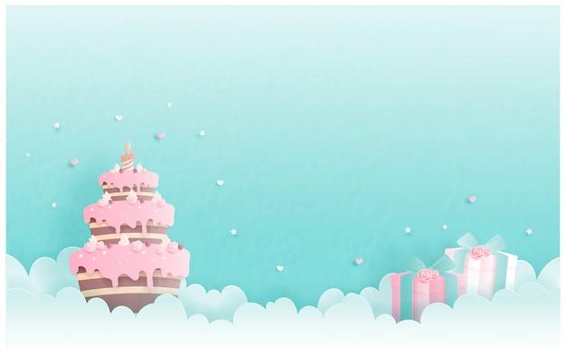 Cartão de aniversário com bolo no estilo de corte de papel. ilustração vetorial